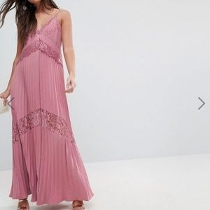 NWT ASOS Pleated Maxi Dress w/ Lace Inserts